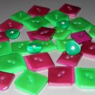 Magenta Pink Kelly Green Buttons Lot Plastic Diamond Triangle Shape Rhinestone Center for Sewing