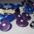 Rhinestone Center Pearly Shank Buttons Cobalt Blue White Purple Fancy Decorative for Sewing Jewelry