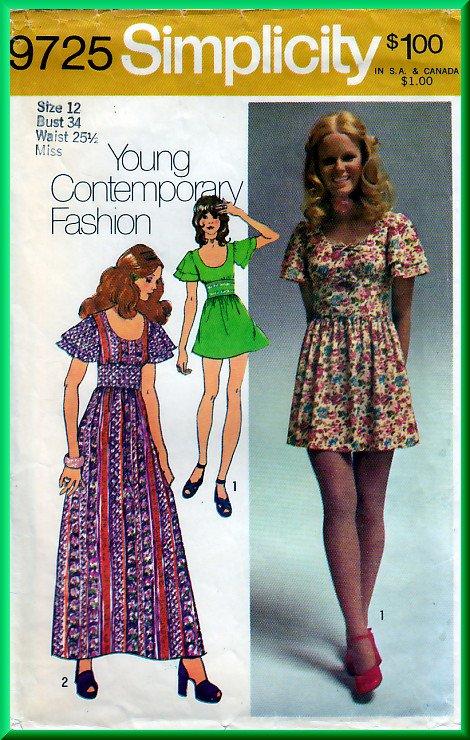 Simplicity 9725 CUT Vintage Sewing Pattern Sz 12 Misses' Cute Folksy Long Mini Dress Flutter Sleeve