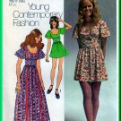 Simplicity 9725 CUT Vintage Sewing Pattern Sz 12 Misses' Cute Folksy Long Mini Dress Flutter Sleeve