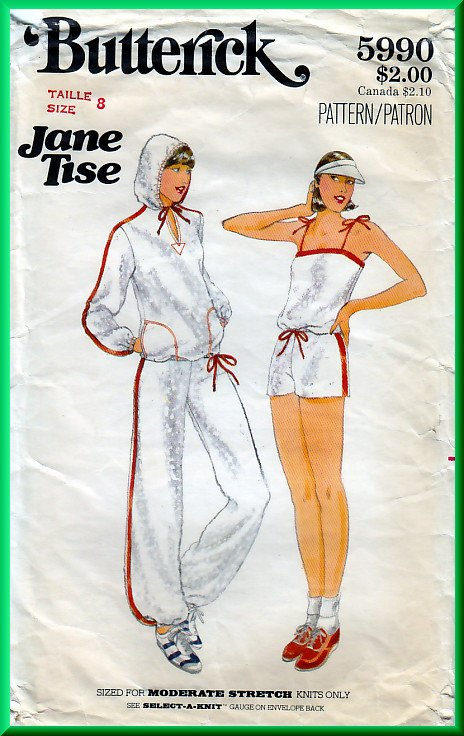 Butterick 5990 CUT Vintage Sewing Pattern Sz 8 Misses' Jogging Workout Wear Sweatshirt Top Knit Set