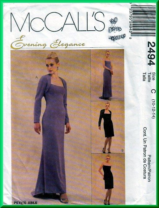 McCall's 2494 CUT Sewing Pattern Sz 10 Misses' Strapless Evening Gown Fishtail Boning Shrug Bolero