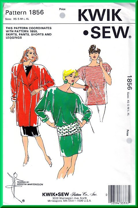 Kwik Sew 1856 Vintage Sewing Pattern Sz XS-XL Knit Coordinates Jacket Dress Tunic Belt Retro 80s Fun