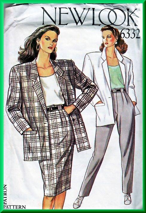 New Look 6332 Sewing Pattern Sz 8-18 Retro Power Suit Boxy Blazer  Slim Skirt Pleated Trouser Pants