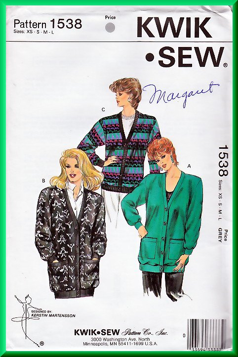 Kwik Sew 1538 Vintage Sewing Pattern Sz XS-XL Sweater Knit Cardigan Retro 80s Boyfriend Cardigan