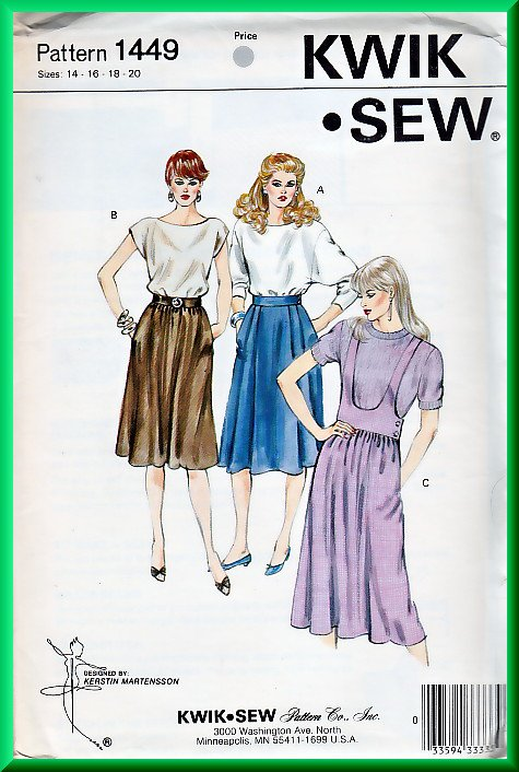 Kwik Sew 1449 Vintage Sewing Pattern Sz 14-20 Retro 80s Skirts 3 Styles Gathered Waist Jumper Style