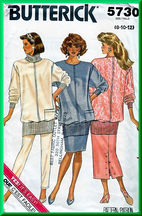 Butterick 5730 Vintage Sewing Pattern Sz 8-12 Retro 80s Knit Outfit Pullover Top Tapered Pants Skirt