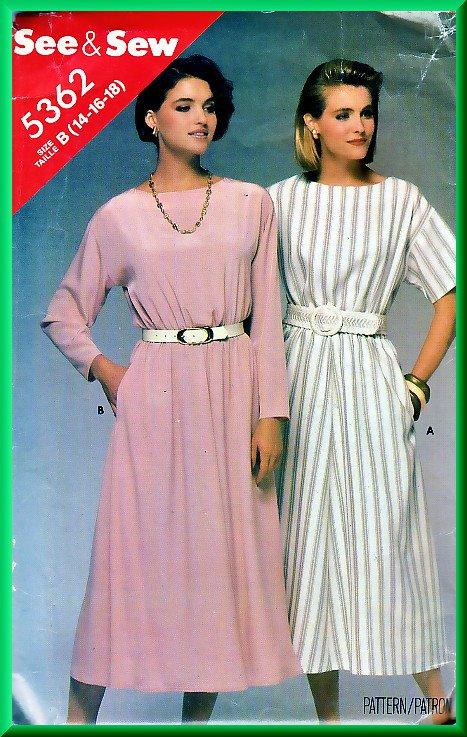 Butterick 5362 Vintage Sewing Pattern Sz 14-18 Pullover 80s Dress Elastic Waist Short Long Sleeves