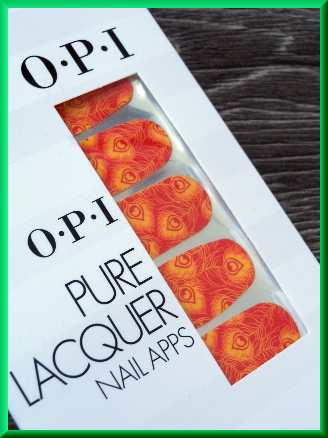 OPI Nail Polish Stickers Peacock AP103 Red Yellow Peacock Feathers Pattern Real Lacquer