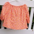 Peasant Blouse - Orange Floral
