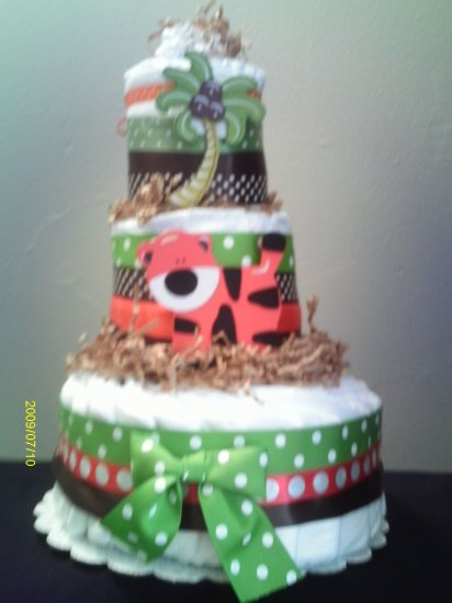 Safari Jungle Three Tier Diaper Cake (Girl or Boy)