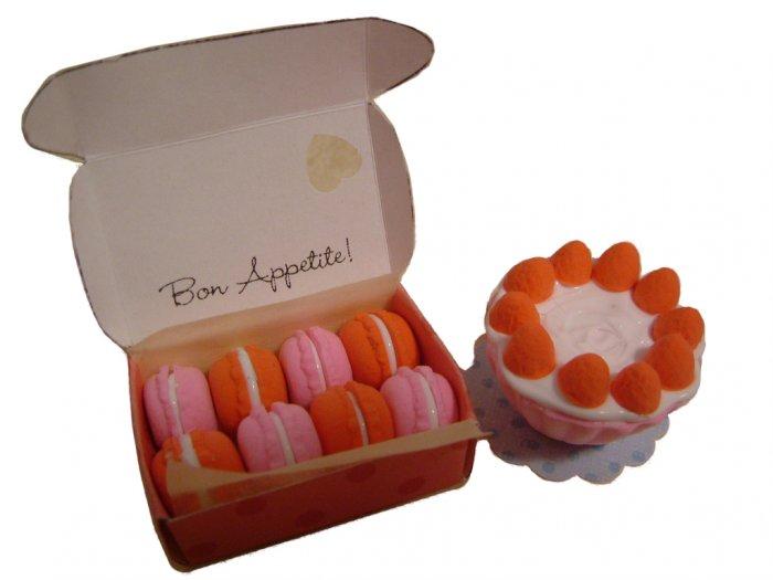 Miniature box of Macaroons and strawberry Cupcake