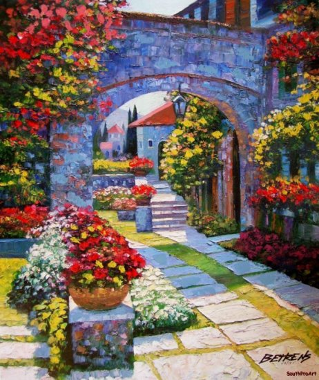 VIEW FROM VILLA HOWARD BEHRENS EMBELLISH CANVAS Italy