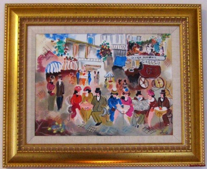 ZULE~OLD BAKERY~Jewish Tarkay framed gold canvas HS