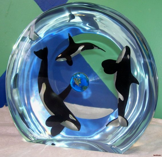WYLAND~ORCA PLANET~ocean Shark Killer Whale AP fish COA