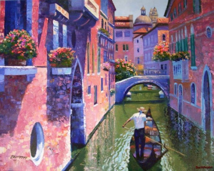 PINK CANAL HOWARD BEHRENS EMBELLISH CANVAS Venice Italy