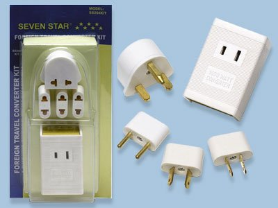 Travel Voltage Converter Kit By Seven Star- 4 International Plug Adapters Included