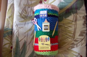 Children's Storage Container or Teacher Appreciation Gift Handcrafted of Yarn