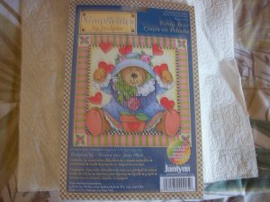 Counted Cross Stitch Teddy Bear & Hearts Kit New!