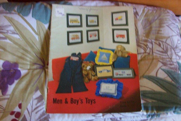 Cross Stitch Booklet For Men & Boy's Toys Vintage 1979