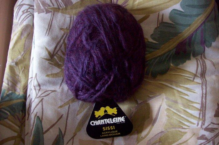Purple Acrylic Mohair Yarn Chanteleine Made in France 50g