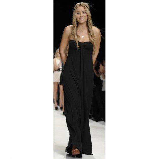 BOHO BLACK STRAPLESS GRECIAN MAXI EVENING SUMMER BEACH DRESS UK SIZE 8-10, US SIZE 4-6