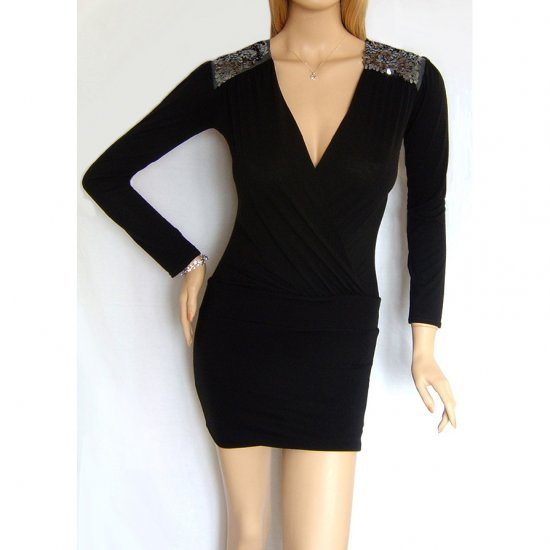ELISE RYAN TOPSHOP MINI BODYCON BODY CON DRESS BLACK UK SIZE 14, US SIZE 10