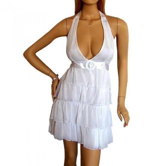 WHITE BABYDOLL RUFFLE HALTERNECK MINI PROM COCKTAIL PARTY SUMMER EVENING DRESS UK 12-14, US 8-10