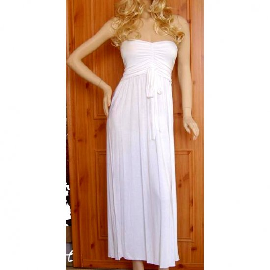 WHITE GRECIAN LONG BOHO STRAPLESS JERSEY SUMMER MAXI BEACH HOLIDAY DRESS UK 8-10, US 4-6