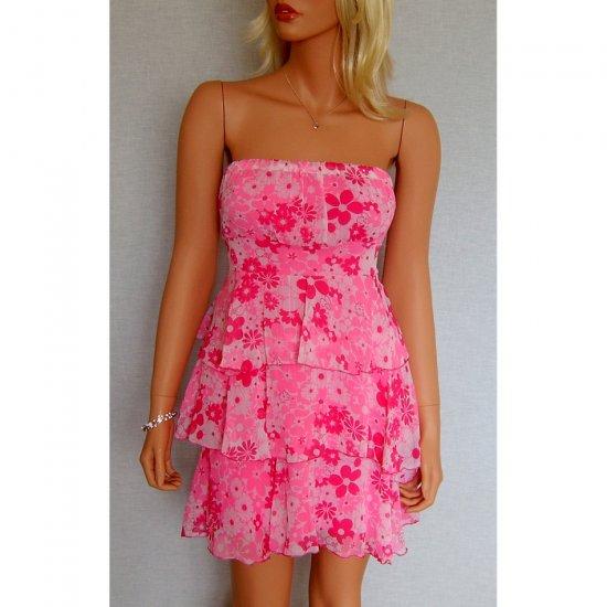 STRAPLESS PINK FLORAL FLOWER PRINT MINI BABYDOLL CLUBWEAR SUMMER RUFFLE DRESS UK 8-10, US 4-6
