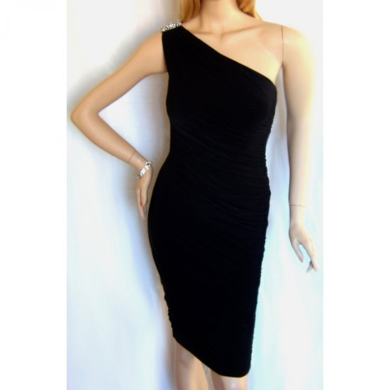 BLACK DIAMONTE RUCHED BODYCON BODY CON EVENING COCKTAIL PROM CLUBWEAR PARTY DRESS UK 8-10, US 4-6