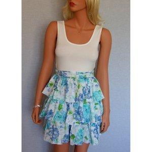 WHITE BLUE TURQUOISE GREEN FLORAL SUMMER RUFFLE BABYDOLL MINI HOLIDAY DRESS UK 8, US 4