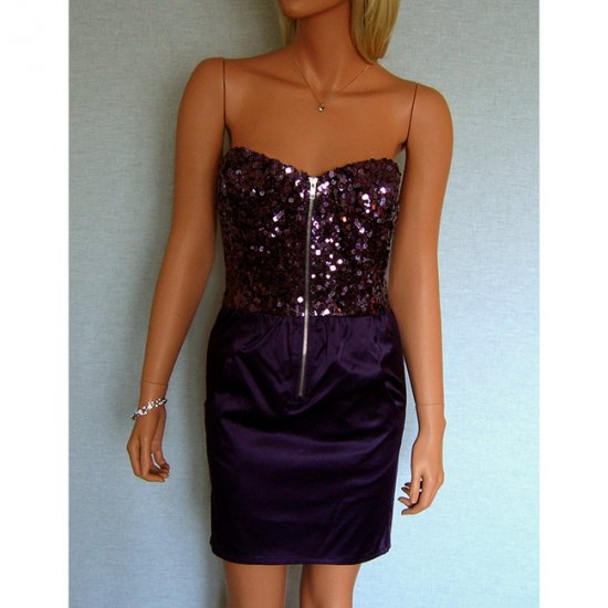 PURPLE SEQUIN SATIN BODYCON BODY CON MINI COCKTAIL PARTY PROM DRESS UK SIZE 12, US SIZE 8