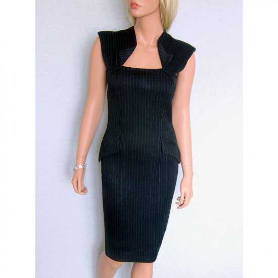 BLACK PINSTRIPE BODYCON JERSEY PENCIL OFFICE BUSINESS SHIFT WORK DRESS UK SIZE 16, US SIZE 12
