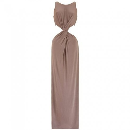 CHERYL COLE LONG NUDE BEIGE FRONT TWIST EVENING PARTY COCKTAIL PROM MAXI GOWN DRESS UK 8-10, US 4-6