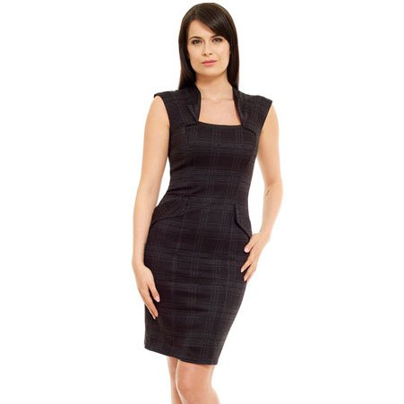 BLACK TWEED CHECK PRINT BODYCON JERSEY PENCIL OFFICE BUSINESS SHIFT WORK DRESS UK SIZE 16, USA 12