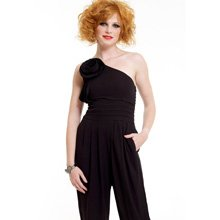 WOMENS NEW BLACK ONE SHOULDER ROSE CORSAGE EVENING CLUBWEAR DRESS PLAYSUIT JUMPSUIT UK 12, US 8
