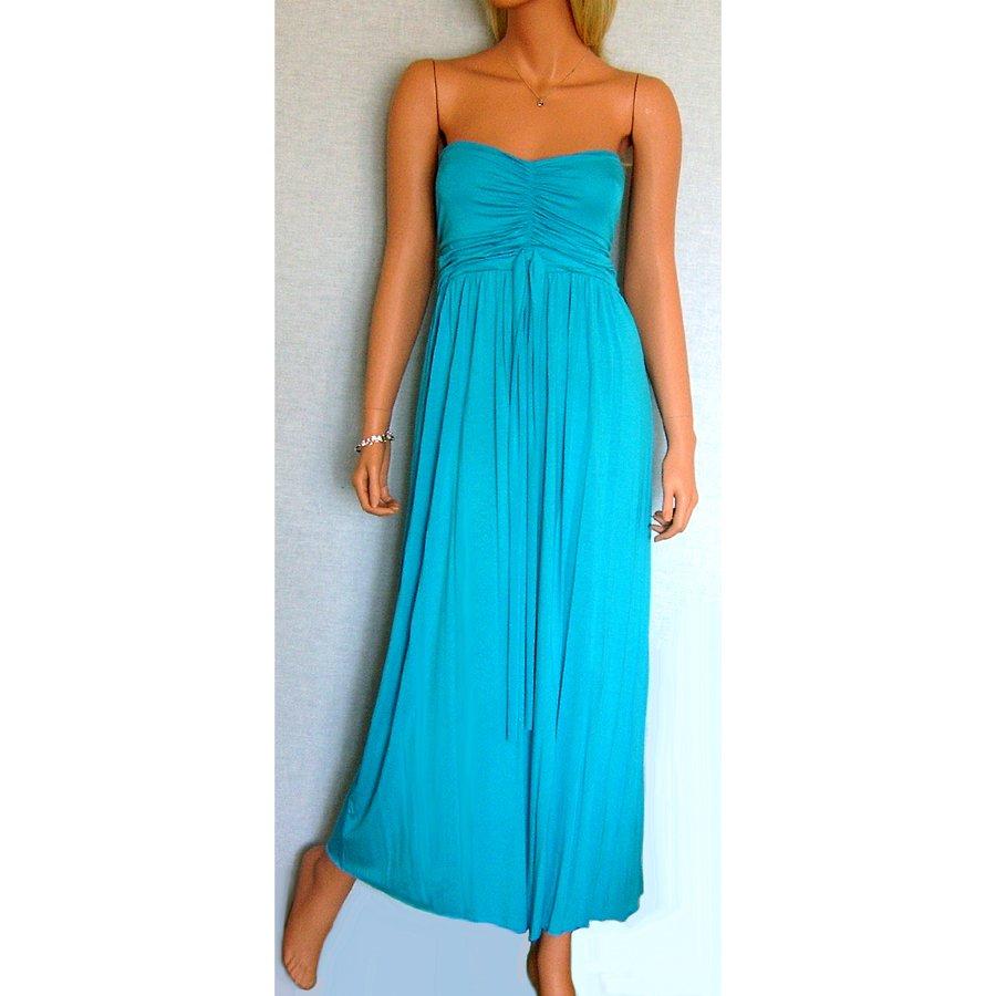 TURQUOISE BLUE GRECIAN LONG BOHO STRAPLESS JERSEY SUMMER MAXI BEACH HOLIDAY DRESS UK 12-14, US 8-10