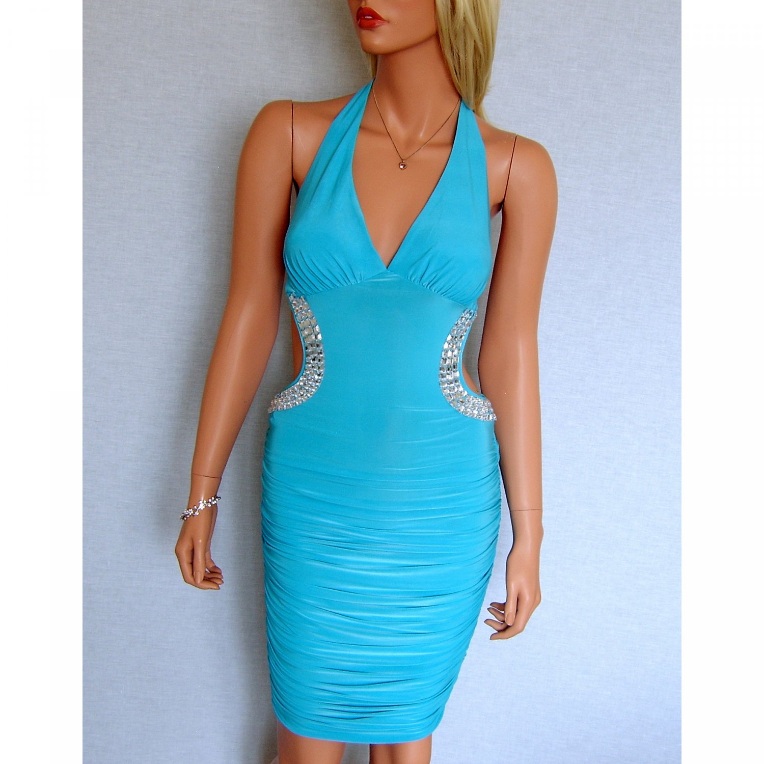 TURQUOISE BLUE BACKLESS JEWEL HALTERNECK EVENING MINI CLUBWEAR BODYCON PARTY DRESS UK 12-14, US 8-10