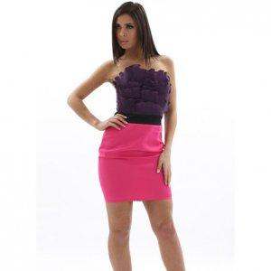 CHERYL COLE PURPLE PINK RUFFLE MINI EVENING COCKTAIL CLUBWEAR PROM BODYCON PARTY DRESS UK 12, US 8