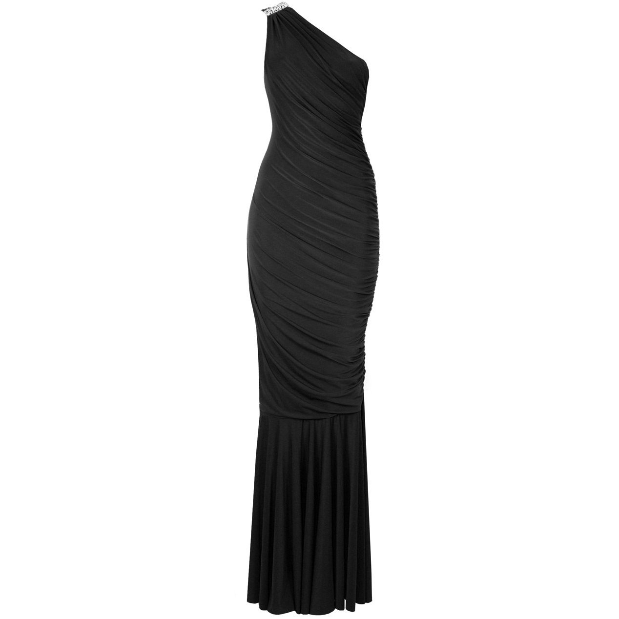 WOMENS NEW BLACK ONE SHOULDER GRECIAN LONG EVENING FISHTAIL MAXI PROM GOWN DRESS UK 12-14, US 8-10