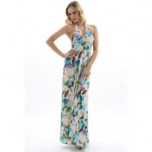 WOMENS LADIES FLORAL PRINT HALTERNECK LONG SUMMER EVENING HOLIDAY BEACH MAXI DRESS UK 8-10, US 4-6