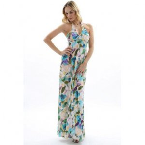 WOMENS LADIES FLORAL PRINT HALTERNECK LONG SUMMER EVENING HOLIDAY BEACH MAXI DRESS UK 10-12, US 6-8