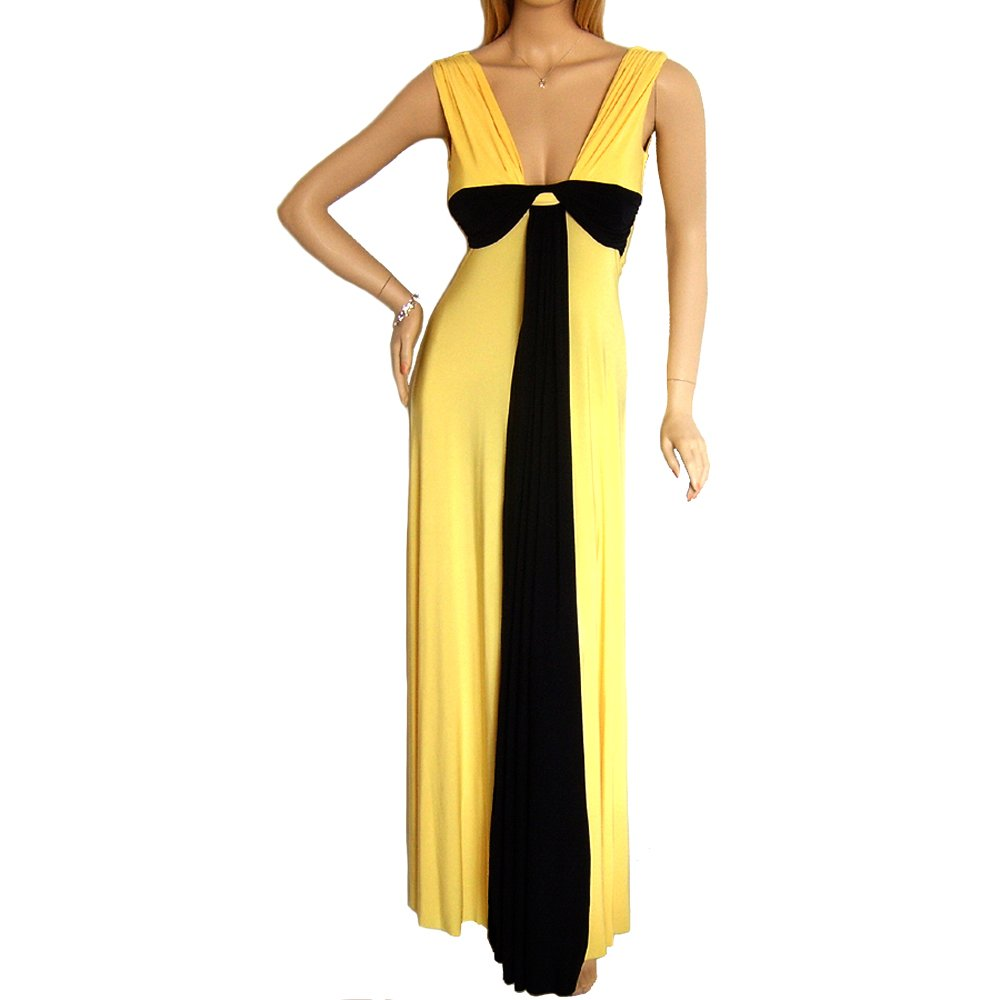 GRECIAN YELLOW AND BLACK LONG PROM MAXI EVENING PARTY DRESS GOWN UK 8-10, US 4-6