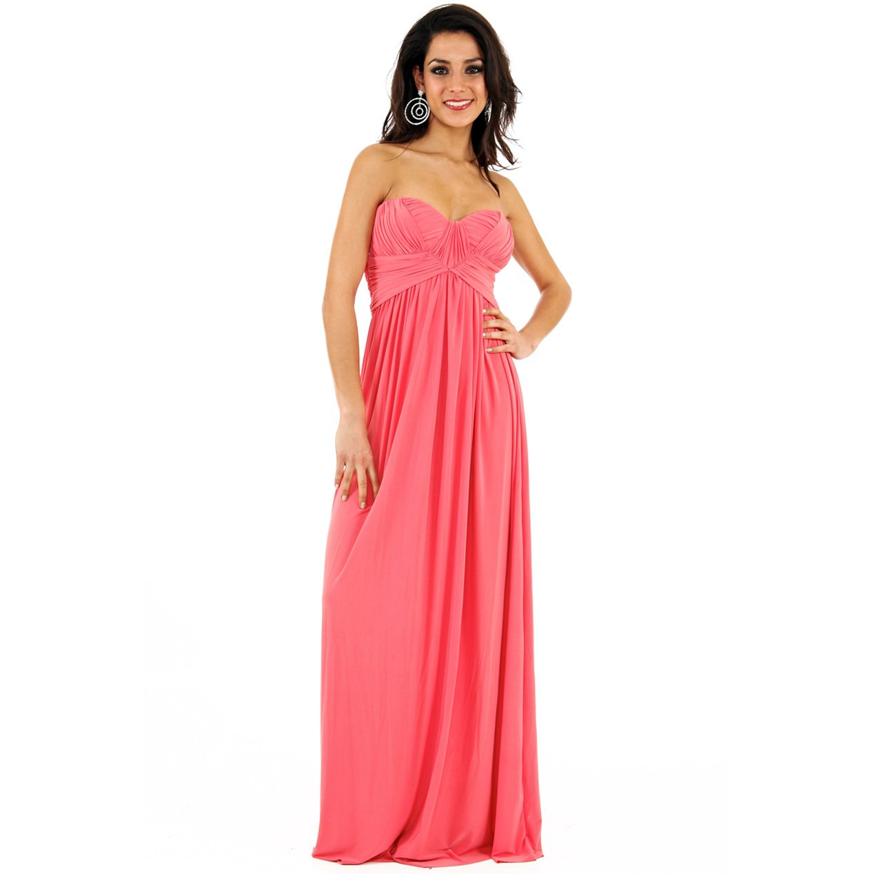 JESSICA ALBA CORAL LADIES STRAPLESS LONG SUMMER EVENING PARTY PROM GOWN MAXI DRESS UK 8-10, US 4-6