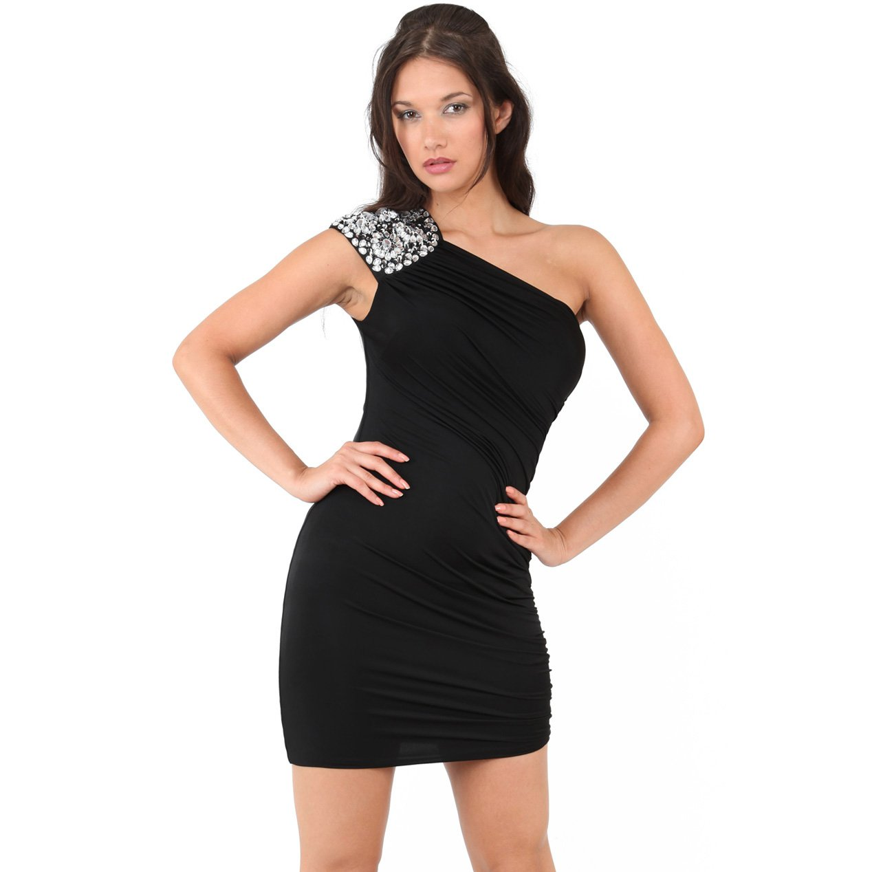 BLACK JEWEL BEADED RUCHED ONE SHOULDER BODYCON EVENING MINI COCKTAIL PARTY DRESS UK 12-14, US 8-10