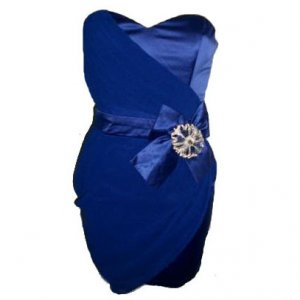 STRAPLESS BLUE DRAPE JEWEL BOW EVENING COCKTAIL BODYCON CLUBWEAR MINI PROM PARTY DRESS UK 8, US 4