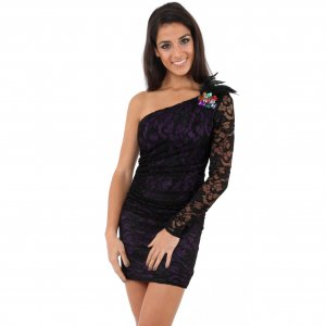 WOMENS BLACK PURPLE LACE EVENING COCKTAIL BODYCON CLUBWEAR MINI PARTY PROM DRESS UK 10-12, US 6-8
