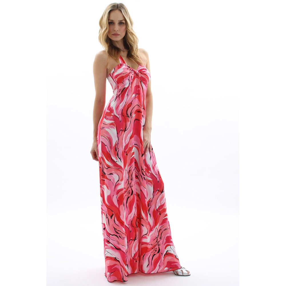 WOMENS LADIES SWIRL PRINT HALTERNECK LONG SUMMER EVENING HOLIDAY BEACH MAXI DRESS UK 14-16, US 10-12