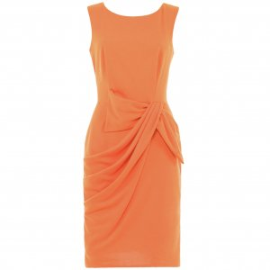 WOMENS LADIES ORANGE OFFICE BODYCON WORK CASUAL FORMAL EVENING PENCIL SHIFT DAY DRESS UK 10, US 6